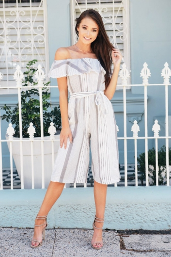 Speculoos Jumpsuit - White/ Black Stripe