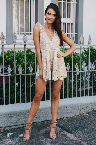 Old-Fashioned Apple Pandowdy Playsuit - Blush Sequin