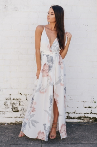 Agnes Floral Maxi Dress - White Design