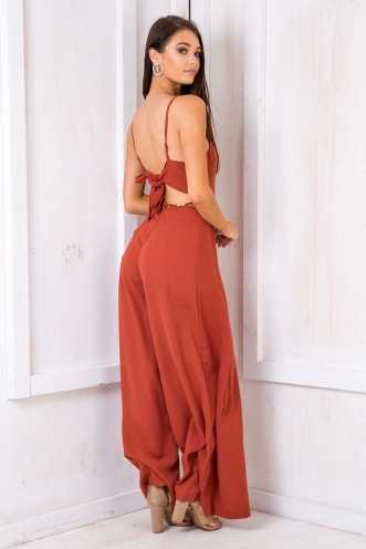 Peach Brown Betty Jumpsuit - Terracotta