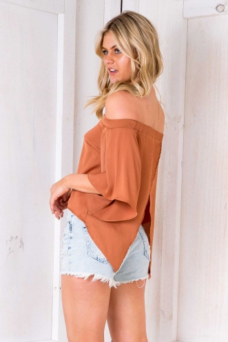 Poppy Off The Shoulder Top - Terracotta