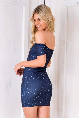 Tiffin Cake Dress - Navy Polka Dots