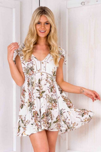 Flapjack Dress - White Floral