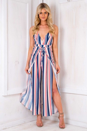 Tulumba Jumpsuit - Multi Orange Stripe