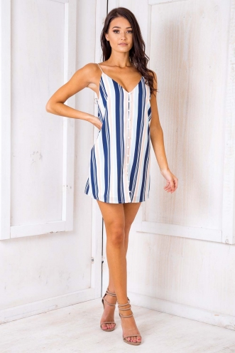 S'mores Dress - Navy Stripes