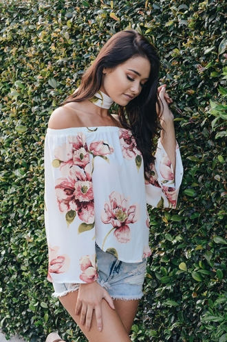 Nova Off The Shoulder Top -White Print