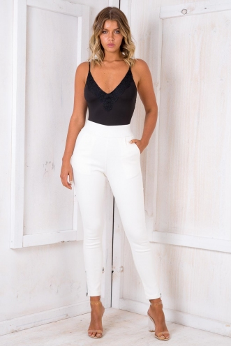 Boysenberry Bubblegum Womens High Waisted Pants - White