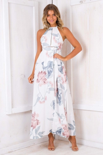 Rosie Floral Maxi Dress - White Floral
