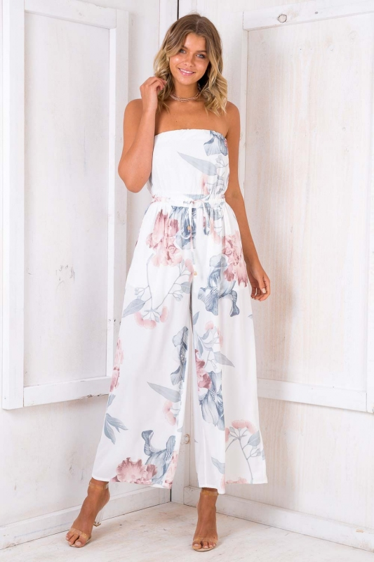 6666171fb475 Sale! Party Nights Jumpsuit - White Print. Loading zoom