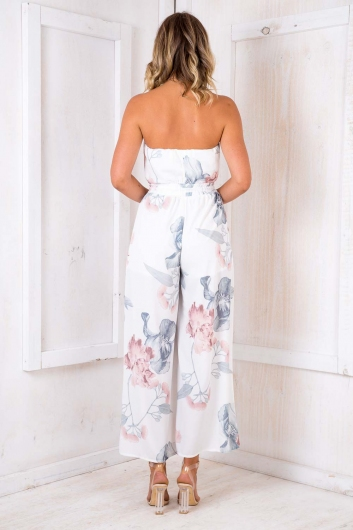 Party Nights Jumpsuit - White Print