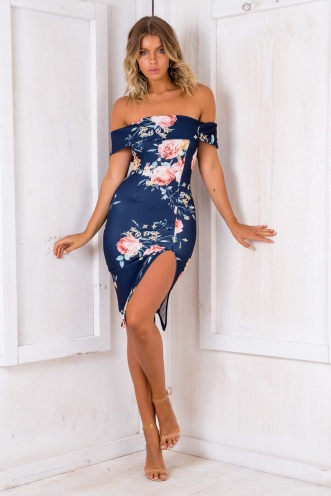 Renata Off The Shoulder Dress - Navy Floral