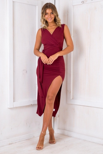 Passionfruit Bars Dress - Maroon