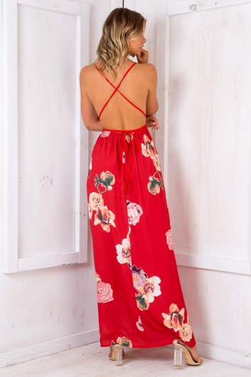 Agnes Floral Maxi Dress - Red Pattern