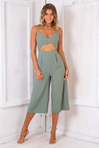 Lemon Gem Cupcakes Jumpsuit - Khaki