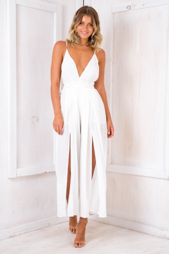 Plum Cake Jumpsuit - White