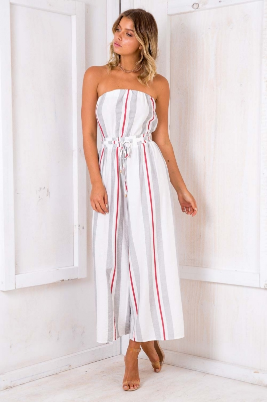 1182aba5fc1a Party Nights Jumpsuit - White  Black  Red Stripe. Loading zoom