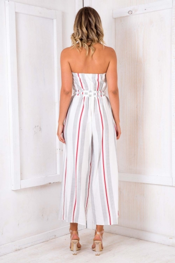 Party Nights Jumpsuit - White/ Black/ Red Stripe