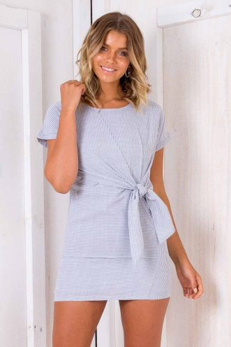 Mint Oreo Cake Dress - Grey Stripe
