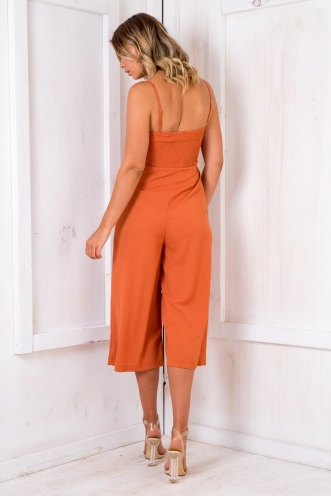 Chocolate Peppermint Cake Jumpsuit - Burnt Orange