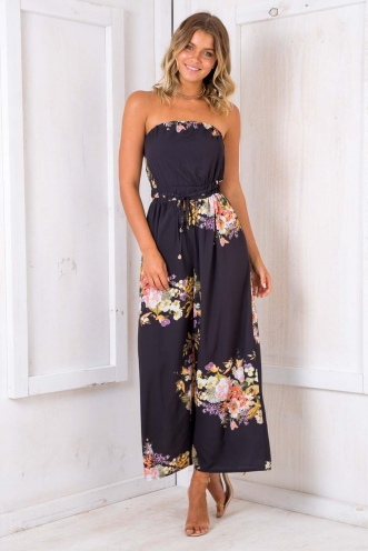 Party Nights Jumpsuit - Black Flowers