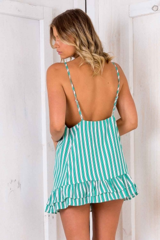 Mini Doughnut Cupcake Dress - Green/ White Stripe