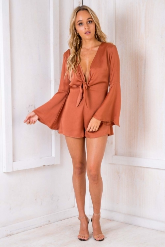 Black Forest Cherry Cake Playsuit - Terracotta