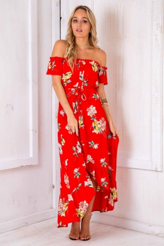 Angel's Delight Dress - Red Floral