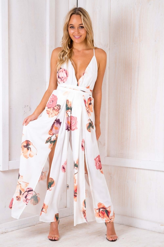 6aa05061dfb5 Sale! Plum Cake Jumpsuit - White Floral. Loading zoom