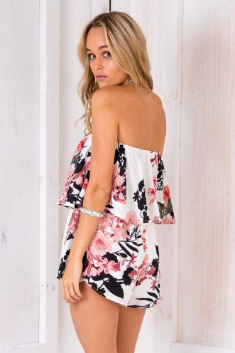 Blair Playsuit - White Floral