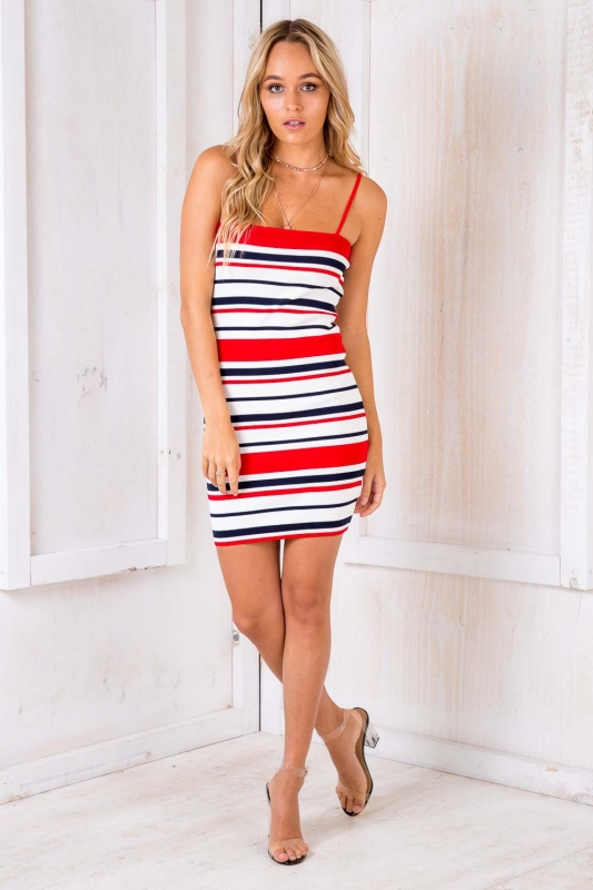 Caramel Kisses Dress - Red/ White/ Blue Stripe. Loading zoom