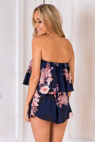 Blair Playsuit - Navy Floral