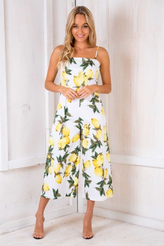 Molten Chocolate Cake Jumpsuit - Yellow Print