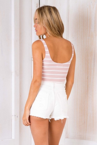 Butterscotch Cashew Bars Top - Blush Stripe