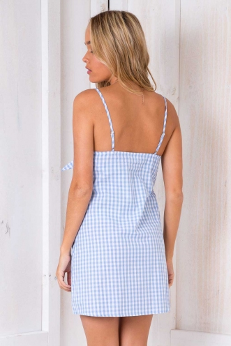Fattigman Dress - Blue Chequered