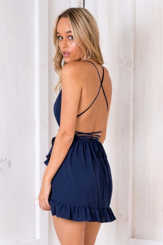 Book by the Pool Playsuit - Navy