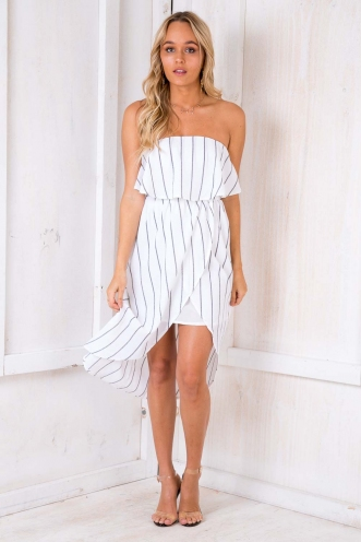 Denise Dress - Black/White Stripe