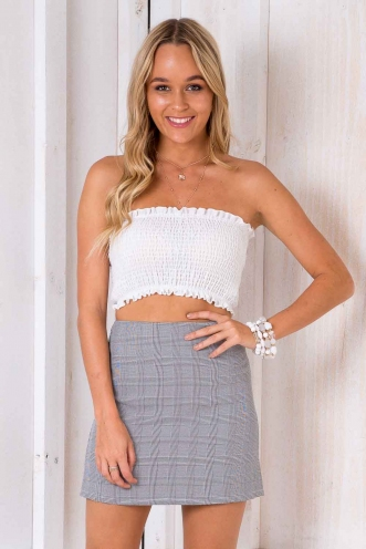 Brittnee Skirt - Black/White Plaid