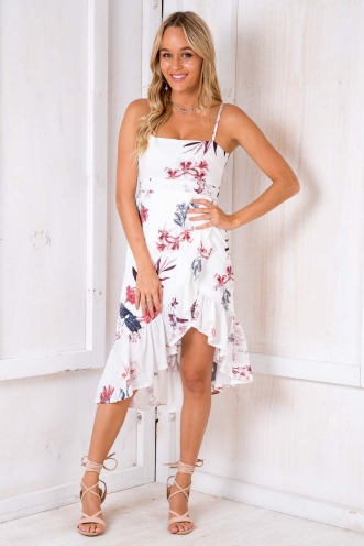 Take Me Dancing Dress -White Floral