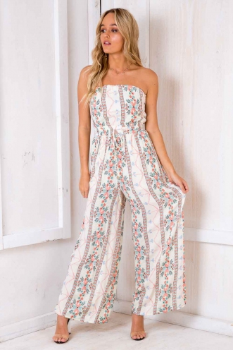 Catalina Jumpsuit - White Print