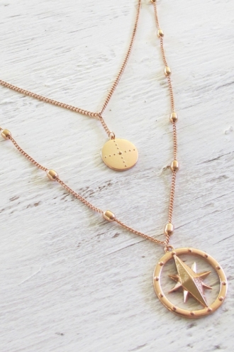 Minc Collections - Compass Necklace - Rose Gold
