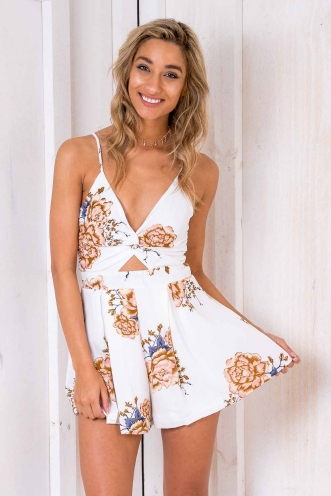 Blossom Playsuit - White Floral