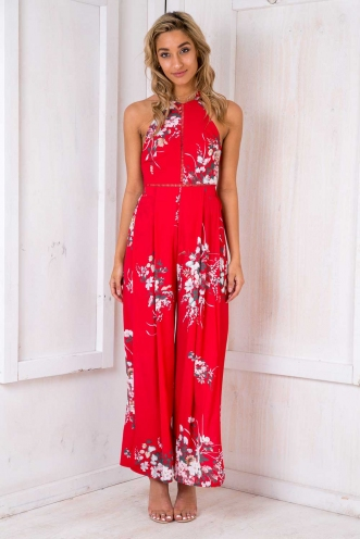 Queen Elizabeth Cake Jumpsuit - Red Floral