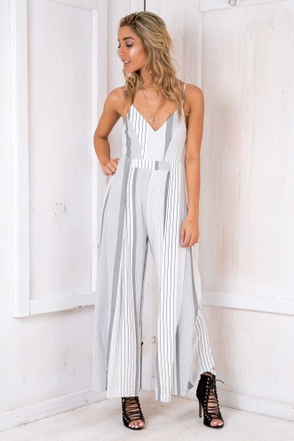 Clootie Jumpsuit - White/ Black Stripe
