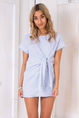 Mint Oreo Cake Dress - Blue/ White Stripe