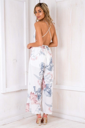 Plum Cake Jumpsuit - White Pattern