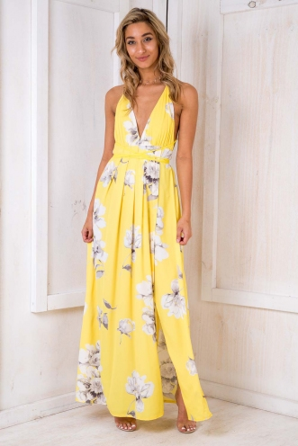 Agnes Floral Maxi Dress - Yellow Floral
