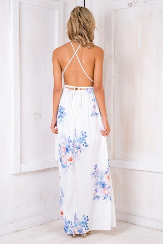 Agnes Floral Maxi Dress - White Version