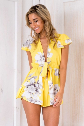 Two Hearts Playsuit - Yellow Floral