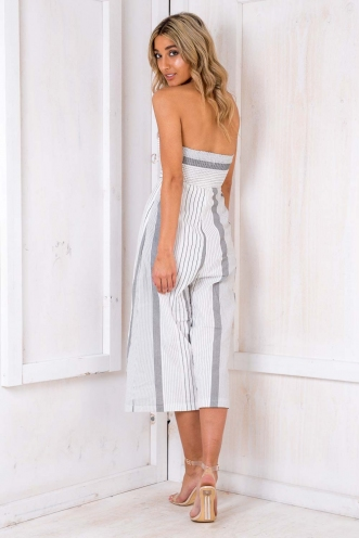 Lotus Jumpsuit - White/ Black Stripe