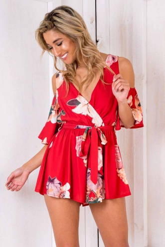 Shelby Cold Shoulder Playsuit - Red Floral